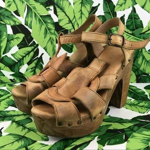 Bed Stu Melissa Tan Driftwood Leather Sandal Clogs